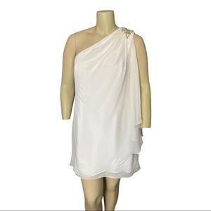 JS Boutique White Chiffon One Shoulder Dress 18